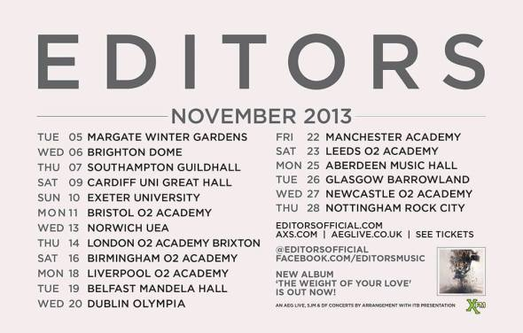 Editors - UK November tour 2013